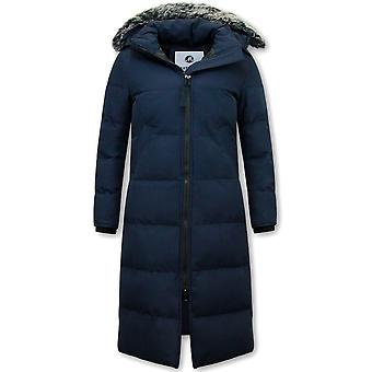 Winter coat - Extra Long - With Fake Fur Collar - Blue