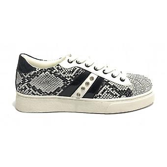 Women's Sneakers With Gold&gold Grey Python Faux Leather With Rhinestones D20gg06