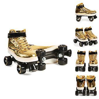 Byox Rollschuhe Golden Größe S 33-34 PVC-Räder Sohle Licht Lager 608ZB bis 60 kg