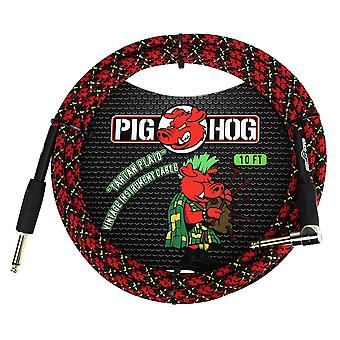 "Pig hog pch10plr 1/4"" to 1/4"" right-angle tartain plaid guitar instrument cable, 10 feet"