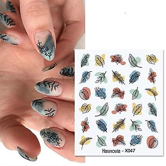 Nail Art Decorations Flowers Leaves Decals Water Sticker