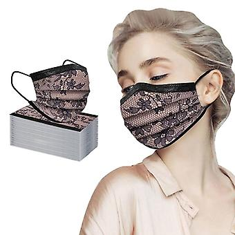 100pc Adult Fashion Lace Disposable Protection Three Layer Breathable Face Mask