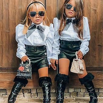 Children Clothing Sets, Toddler Lace Bowtie Tops And Pu Leather Shorts