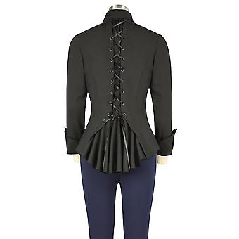 Chic Star Victorian Corset Back Blouse In Black