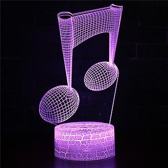 3D Optical Illusion Lampa LED Night Light, 7 kolory Touch Lampa nocna Sypialnia Art Deco Dziecko Światło nocne z kabel USB Nowość Boże Narodzenie Urodziny Gift-Music uwaga # 352