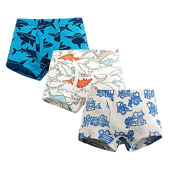 Yunyun Boys Cartoon Shark Dinosaur Print Three-piece Cotton Poxer Panties
