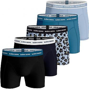 Bjorn Borg 5-Pack Fourflower Print & Solid Boxer Trunks, Blue/Black