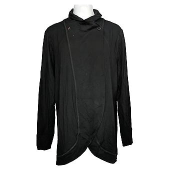 Susan Graver Women's Sweater Long Sleeve Cardigan Black A380262
