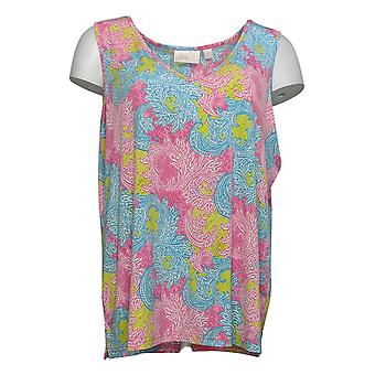 Belle by Kim Gravel Women's Top V-Neck Tank Paisley Pink A373653