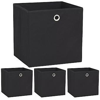 vidaXL صناديق التخزين 4 أجهزة الكمبيوتر الشخصية. غير المنسوجة النسيج 32 × 32 × 32 سم أسود