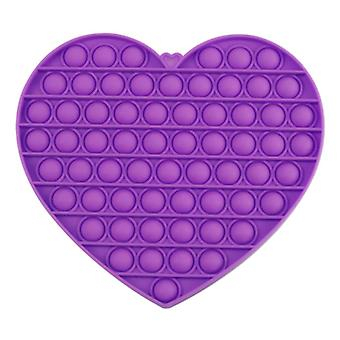 Stuff Certified® XL Pop It - Extra Large Fidget Anti Stress Toy Bubble Toy Silicone Heart Purple