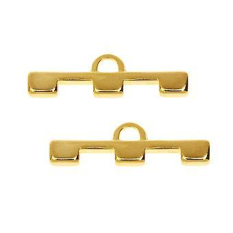 Cymbal Bead Endings fit Tila Beads, Soros III, 7.5mm, 2 Piezas, 24kt Gold Plated