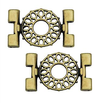 Cymbal Connector se adapta a Tila Beads, Detis, 25.5mm, 2 Piezas, Antiqued Brass Plated