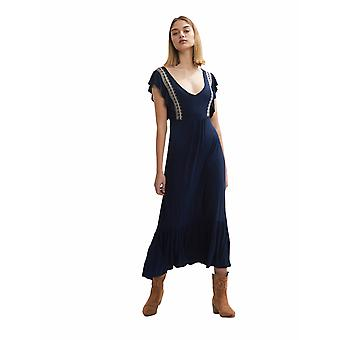 Shuuk Women's Embroidered Midi Dress - Summer Casual Dress with Short Sleeves