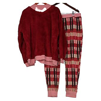 Cuddl Duds Sherpa Pullover Jersey Jogger Pigiama Set Rosso A381802