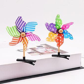 Mini Moinho de Vento de Flor, Grampo de Cabelo Elástico, Cocar Para Crianças Pequenas e Decorativas