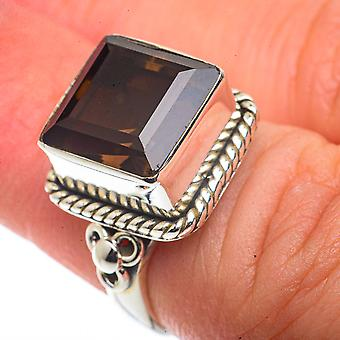 Smoky Quartz Ring Size 5.25 (925 Sterling Silver)  - Handmade Boho Vintage Jewelry RING66498