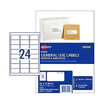Avery General Label L7159Gu 24Up Box Of 100