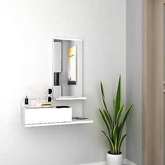 Mobile Ingresso Mode, Colore Bianco in Truciolare Melaminico, Specchio, L60xP29,8xA80 cm