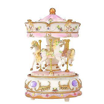 Mini carrousel uurwerk kasteel in de hemel muziekdoos kleurrijke led draaimolen muzikale cadeau