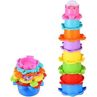 Baby Bad Spielzeug Set Stapelbecher Wasser 8PCS Abfliessen Becher Stapeln Spielzeug für Kinder BPA