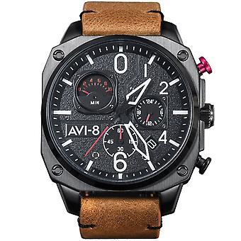 AVI-8 Av-4052-02 Mens Retrograde Kronograf Kol & Brun Läderklocka