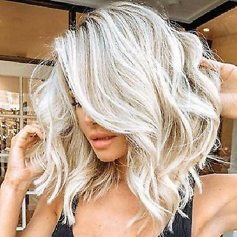 Fashion Women Middle Short Mixed White Curly Synthetic Hair Wigs