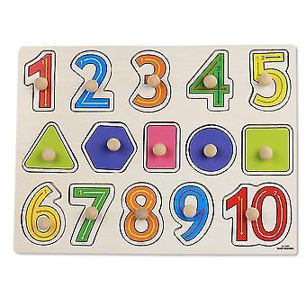Arabic numerals Children's wooden building block puzzle(30*22.5*0.6cm)