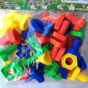 Marmorit 3d värikäs ruuvi mutterit pultit rakentaa palapeli peli älykäs lapset kokoavat