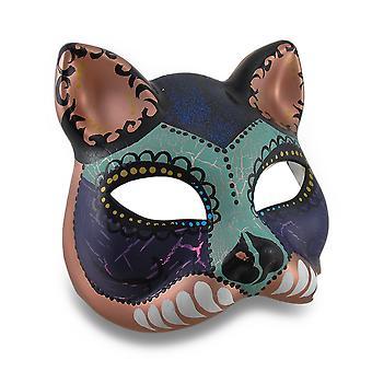 Farverige kat halv-ansigt Mardi Gras stil maskerade maske
