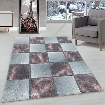 Woonkamer tapijt korte stapel tapijt roze grijs vierkant patroon gemarmerd zacht