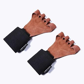 قفازات رفع الأثقال الجلدية مع المعصم يلف قبضة اليد لحماية النخيل