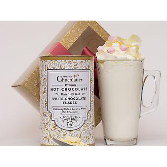 Martin's Chocolatier Hot Chocolate Gift Set (White Chocolate)| Drinking Chocolate Made with Belgian Chocolate Shavings | Includes Glass and Marshmallows
