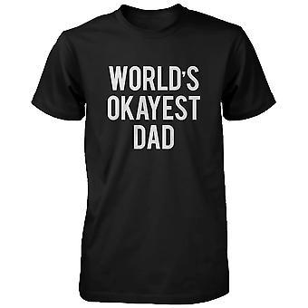 Men's Funny Graphic Statement Black T-shirt - World's Okayest Dad