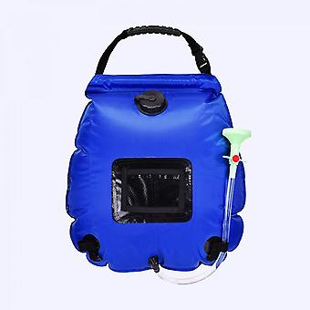 Outdoor Portable Solar Hot Water Bottle Washing Shower Bag 20l, Suitable For Camping Bathing And Bathing (blue)