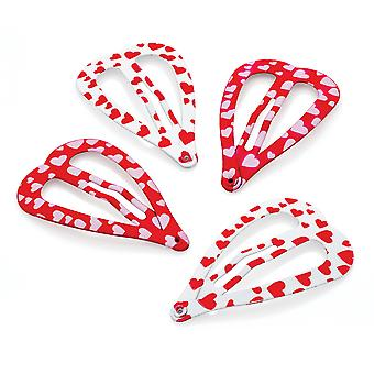 Four Piece Red & White Tone Heart Shaped Hair Snap Clips Set 4cm