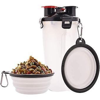 Bärbar petvattenflaska husdjursmatbehållare dubbelkammare 2-i-1 flaska med uppsättning av 2 hopfällbara skålar för hundar / katter (vit)