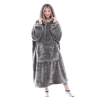 Flanel warm sweatshirt Halat de baie cu glugă Pătură 3