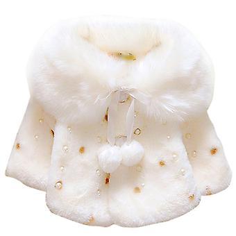 Baby Girl Faux Fur Hooded Coat Jacket Cape Cloak Poncho