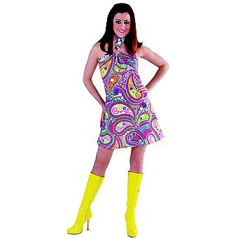 Kobiety stroje kobiet sukienka hippie funky kolory siedemdziesiątych