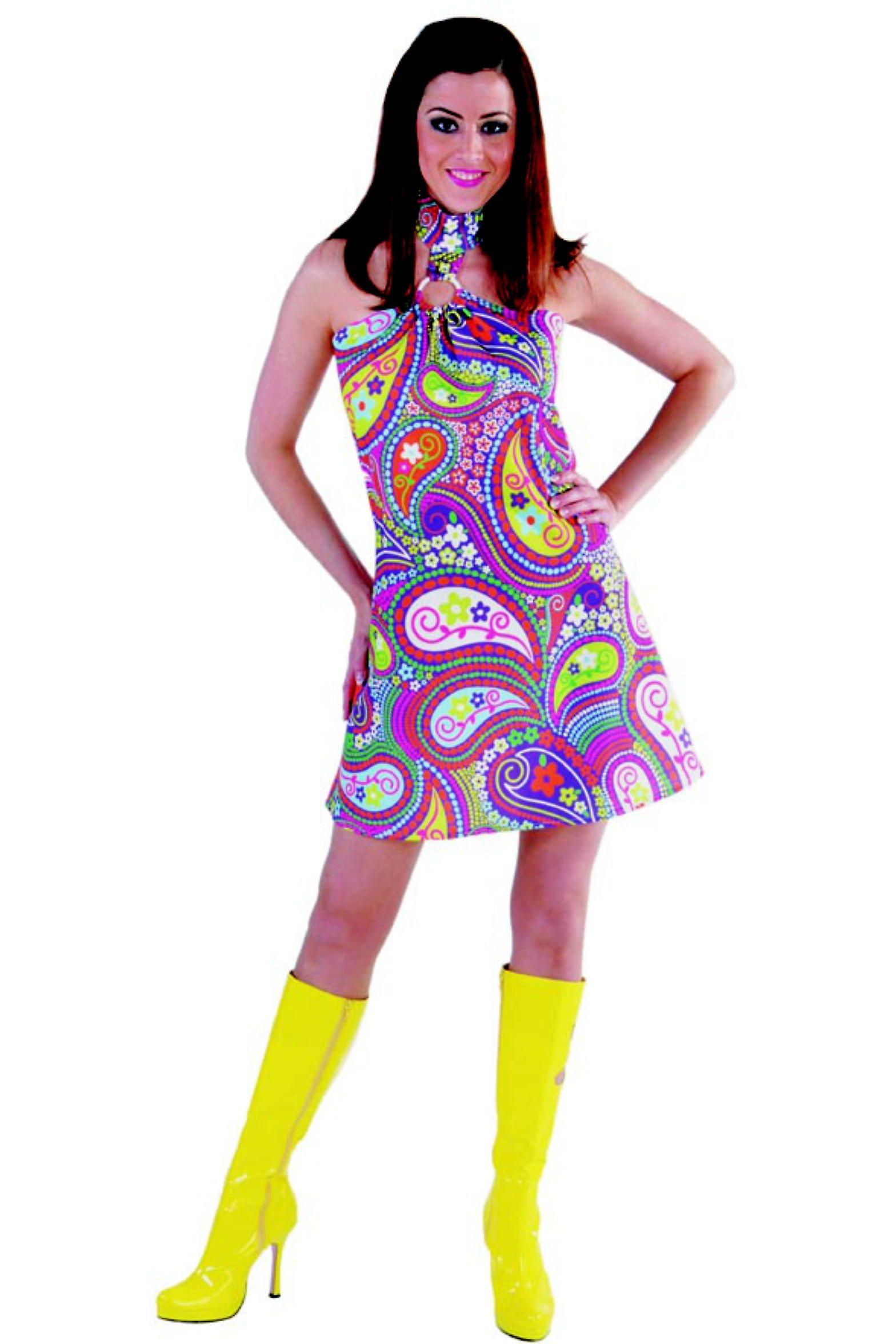 frauen frauen kleid funky farben hippie 70er jahre kost me fruugo. Black Bedroom Furniture Sets. Home Design Ideas