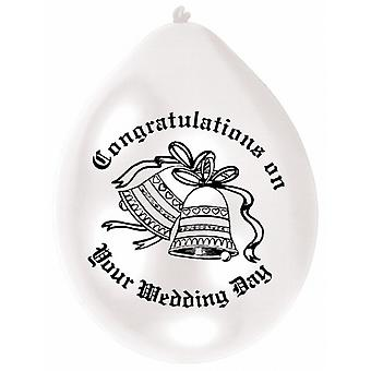 Amscan Multicoloured Congratulations On Your Wedding Day Party Balloons (Pack Of 10)