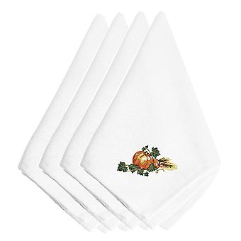 Thanksgiving Harvest Bounty #2 Embroidered Napkins Set of 4