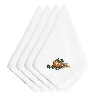 Thanksgiving Harvest Bounty #2 brodert servietter sett med 4
