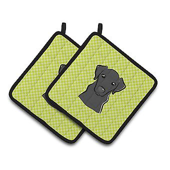 Checkerboard Lime Green Black Labrador Pair of Pot Holders