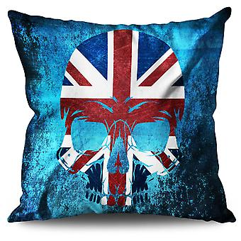 Skull Metal Flag Death Linen Cushion 30cm x 30cm | Wellcoda