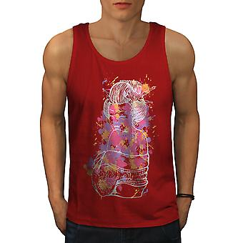 Girl Sexy Art Men RedTank Top | Wellcoda