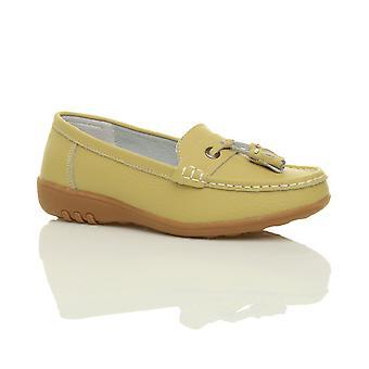Ajvani womens nautiska platt slip på låg klack kil full läder moccasin tassel loafers trösta båt skor