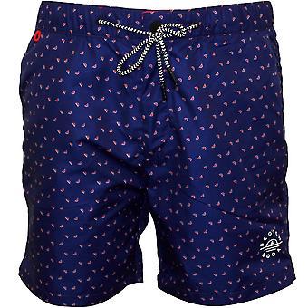 Scotch & Soda Mini Geo Pattern Classic Swim Shorts, Blue/coral