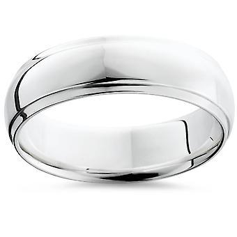 Step Cut Polished Wedding Band 950 Palladium